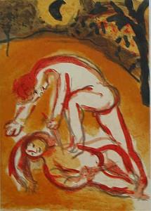 Marc Shagall malt die Geschichte von Kain und Abel. Dabei gibt er dem Abel das Gesicht eines Mädchens und erinnert so an die weltweite Gewalt der Männer gegenüber Frauen und Mädchen. Quelle:  Chagall-  _ und Bibelausstellung Kandel 2003_ httpwww.pwhdesign.dechagall_kandelChagall_bibel8.jpg
