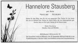 Todesanzeige für Hannelore Stausberg