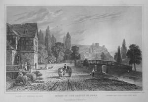 Burgruine Sayn 1832, Stich von Tombleson; Wikimedia